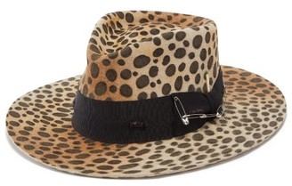 Nick Fouquet Lynx Safety-pinned Leopard-print Felt Fedora Hat - Mens - Leopard
