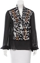 Just Cavalli Contrast Print Sheer Blouse
