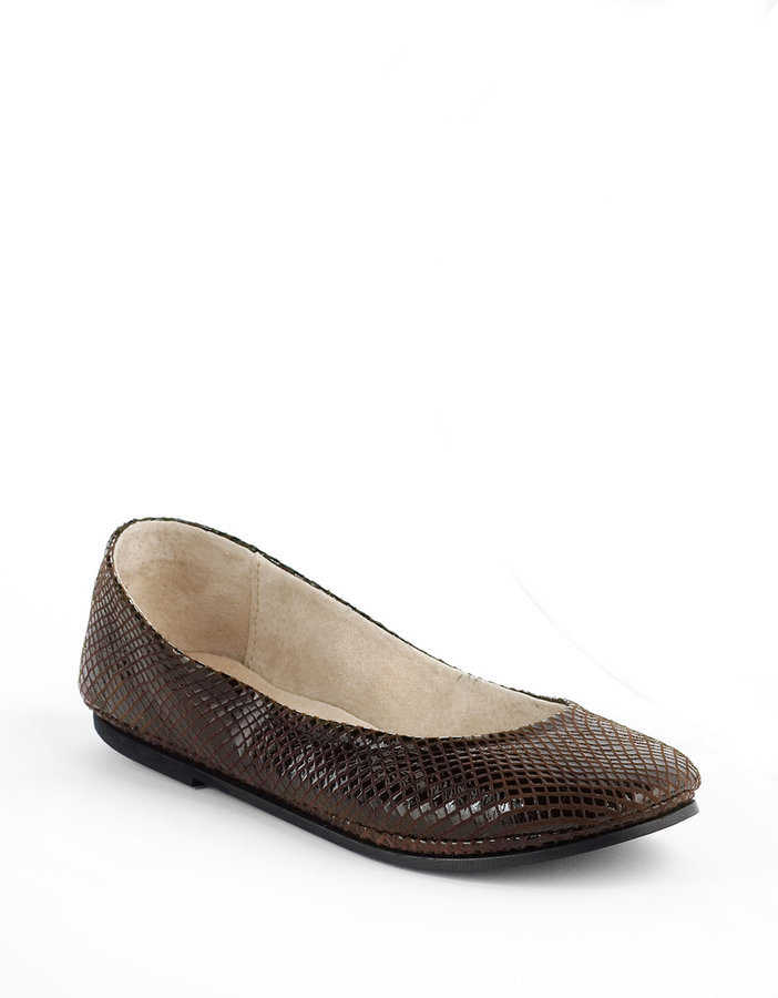 French Sole Click Snake Print Flats