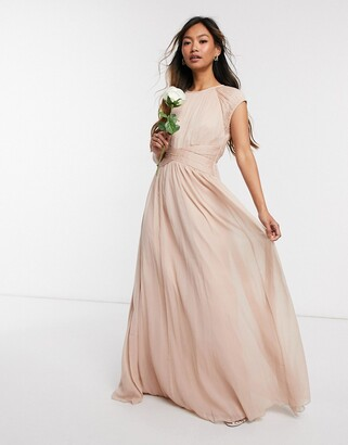 ASOS DESIGN Bridesmaid ruched bodice maxi dress with cap sleeve detail