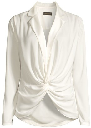 Donna Karan Charmeuse Satin Draped Blouse