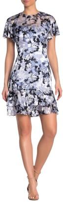 Elie Tahari Yonica Floral Flutter Sleeve Dress