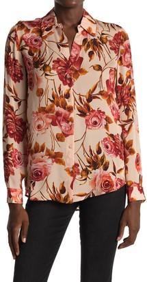 L'Agence Nina Long Sleeve Floral Print Silk Blouse