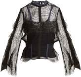 Jonathan Simkhai Bell-sleeved layered-lace blouse