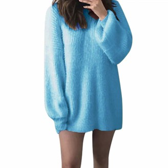 Toamen Women's Tops Womens Sweater Toamen Clothes Sale Clearance Fluffy O-Neck Solid Loose Knitted Warm Long Latern Sleeve Pullover Blouse Tops(Blue 14)