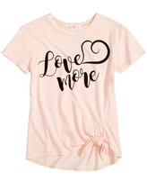 Kandy Kiss Love More Graphic Tie-Front T-Shirt, Big Girls (7-16)