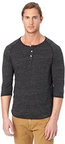 Alternative Men's Raglan 3/4 Sleeve Henley Shirt, Eco Black, Medium