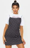 PrettyLittleThing Black Polka Dot Print Strappy Scuba Shift Dress