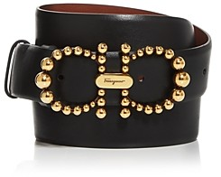 Salvatore Ferragamo Women's Pearl Double-Gancini Leather Belt