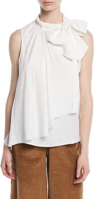 See by Chloe Draped Tie-Neck Ruffle Tank