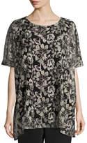 Caroline Rose Embroidered Mesh Caftan Top, Natural/Black, Plus Size