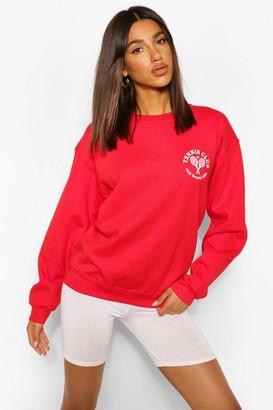 boohoo Pocket Print Tennis Sweatshirt