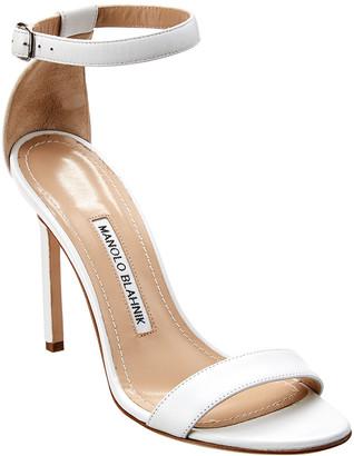 Manolo Blahnik Chaos 90 Leather Ankle Strap Sandal