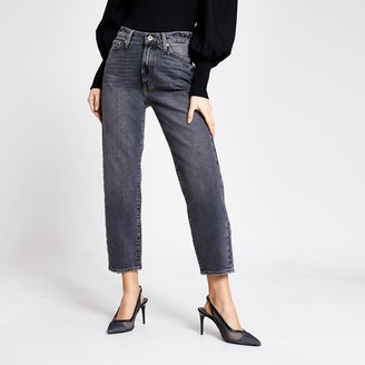 River Island Womens Black washed Blair high rise straight jeans