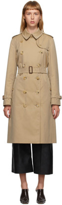 Burberry Beige Long Kensington Trench Coat