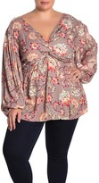 Angie Floral Twist Woven Shirt (Plus Size)