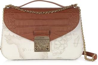 Alviero Martini Jolie White Coated Canvas & Embossed Croco Leather Shoulder Bag
