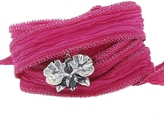 Catherine Michiels Wild Orchid Silver Charm & Silk Bracelet Wrap