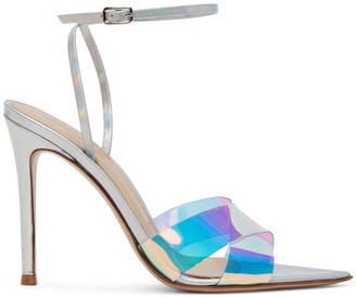 Gianvito Rossi Silver Hologram Stark Heeled Sandals