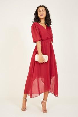 Yumi Burgundy Wrap Over Midi Dress