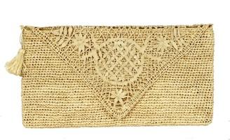 Arielle Handmade Lace Raffia Clutch Bag In Natural Beige