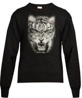 Saint Laurent Leopard-intarsia Mohair-blend Sweater
