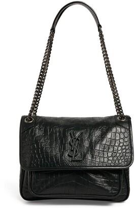 Saint Laurent Croc-Embossed Leather Niki Shoulder Bag