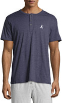 Psycho Bunny Embroidered-Logo Short-Sleeve Henley Tee, Navy