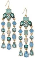 Carolee Gold-Tone Blue Stone Chandelier Earrings