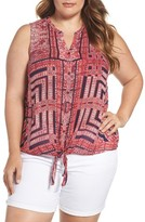 Lucky Brand Plus Size Women's Print Tie Front Top