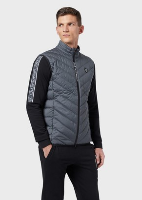 Ea7 Quilted, Padded Packable Sleeveless Jacket