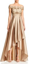 Adrianna Papell Off-the-Shoulder High/Low Beaded Gown