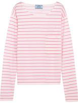 Prada Striped Cotton-jersey Top - Pink