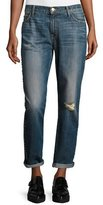 Current/Elliott The Fling Cropped Boyfriend Jeans w/Studs, Whiskey Destroy