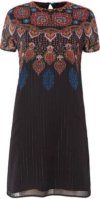 Desigual Women's Casual Dresses 2000 - Black & Orange Damask Short-Sleeve Shift Dress - Women