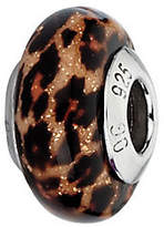 Murano Prerogatives Brown Jaguar Glitter Italian Glass Bead