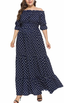 MAGIMODAC Womens Summer Off Shoulder Chiffon Dress Maxi Long Party Beach Cocktail Evening Floral Dresses 16 18 20 22 24 26 (Navy Blue with Polka dot 16)