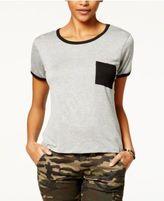Ultra Flirt Juniors' Ringer Pocket T-Shirt