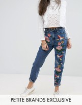 Glamorous Petite Embroidered Mom Jean