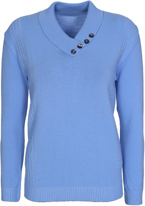 Lets Shop Shop New Womens Ladies Button Collar Long Sleeve Top Knitted Jumper Pullover Sweater Plus Size 12 14 16 18 (12-14
