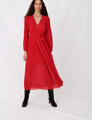 Maje Pleated and belted muslin dress
