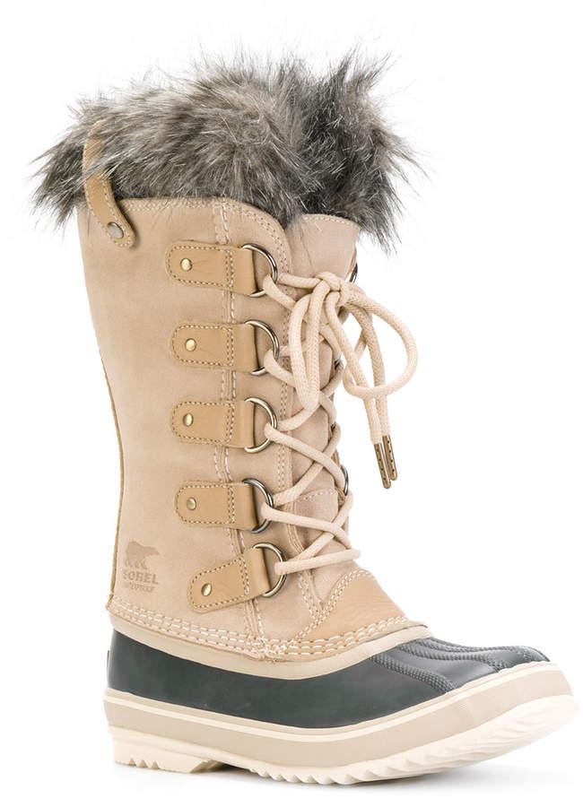 Sorel furry trim ankle length boots