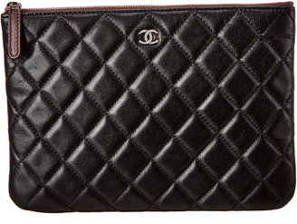 Chanel Black Quilted Lambskin Leather O Case Pouch