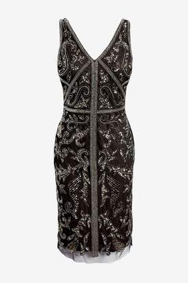 Adrianna Papell Womens Black Bead Sheath Dress - Black