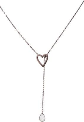 ADORNIA Open Heart & Moonstone Y-Necklace