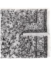 Alexander McQueen stud print scarf - women - Silk/Modal - One Size