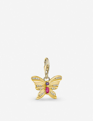 Thomas Sabo Butterfly yellow gold-plated sterling silver, synthetic corundum and zirconia charm