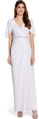 Adrianna Papell Ivory Long Draped Jersey Dress