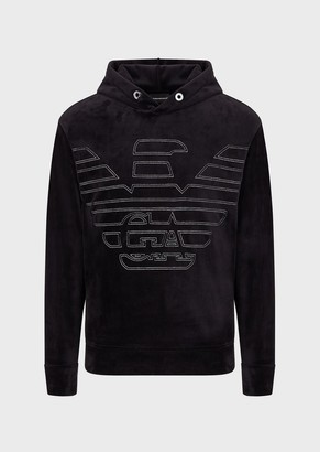 Emporio Armani Velour Jersey Hooded Sweatshirt With Oversized Embroidered Eagle