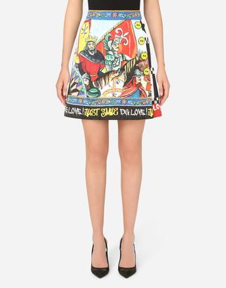 Dolce & Gabbana Patchwork-Print Brocade Miniskirt